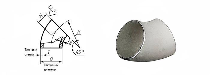 Отвод нержавеющий 45 градусов ГОСТ 17375-2001 наружный диаметр 133 мм Ду 125