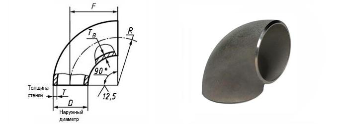 Отвод стальной 90 градусов сварной с размерами по ГОСТ 30753 наружный диаметр 820 мм Ду 800