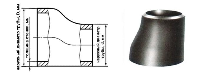 Переход стальной эксцентрический 133-114 мм (Ду 125х100) ГОСТ 17378