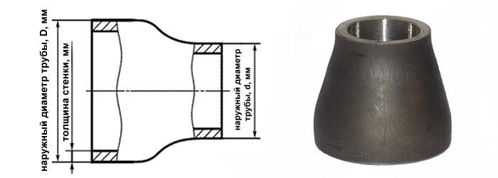 Переход стальной концентрический 89-57 мм (Ду 80х50) ГОСТ 17378