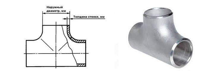 Тройник нержавеющий равнопроходной ГОСТ 17376 наружный диаметр 33.7 мм Ду 25