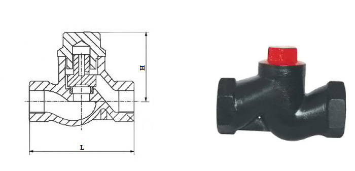 Клапан обратный 16ч11р чугунный подъемный муфтовый Ру 16