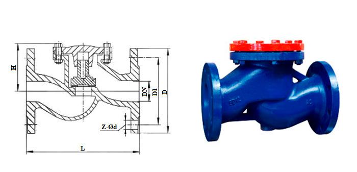 Клапан обратный чугунный подъемный (Ру 1,6 МПа) фланцевый 16ч3нж(бр) и 16ч6нж(бр)
