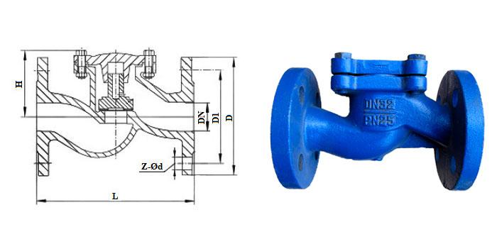 Клапан обратный чугунный подъемный (Ру 2,5 МПа) фланцевый 16ч9нж(бр)