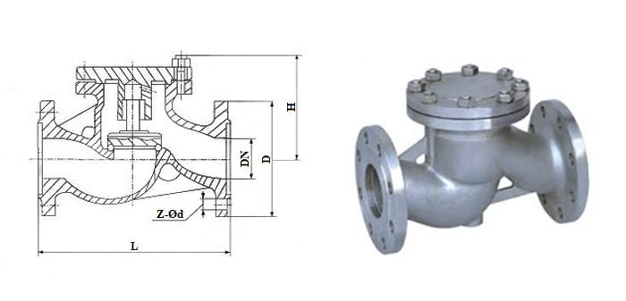 Клапан обратный стальной литой подъемный (Ру 1,6 МПа) фланцевый 16с10нж(бр)