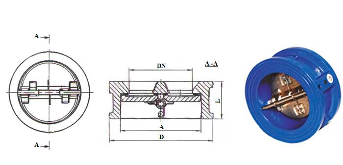 Клапан обратный чугунный поворотный двухстворчатый межфланцевый