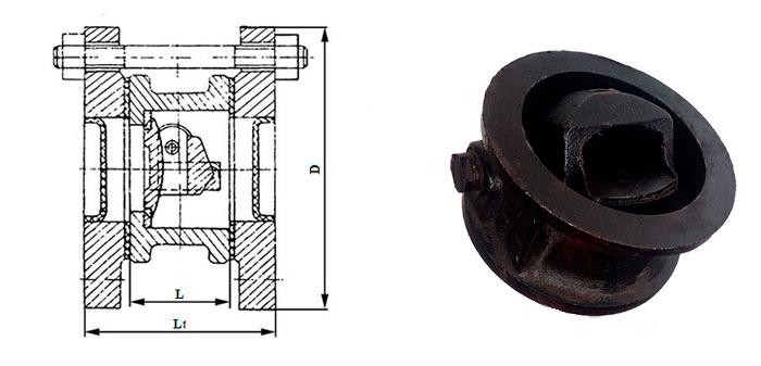 Клапан обратный 19ч21бр чугунный поворотный межфланцевый