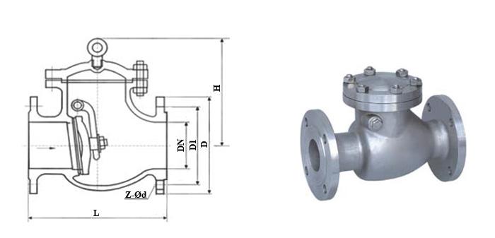 Клапан обратный 19с16нж стальной поворотный фланцевый Ру 16