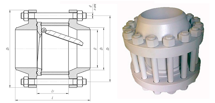 Клапан обратный 19с38нж поворотный фланцевый Ру 64