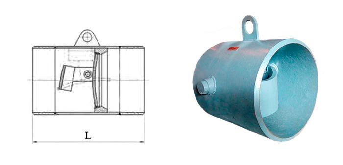 Клапан обратный 19с47нж стальной поворотный под приварку Ру 40