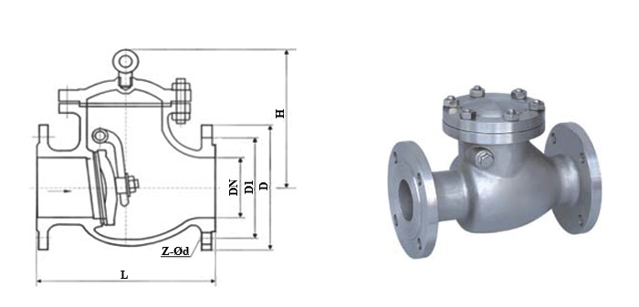 Клапан обратный стальной литой поворотный (Ру 4,0 МПа) фланцевый КОП-40 19с53нж(бр)