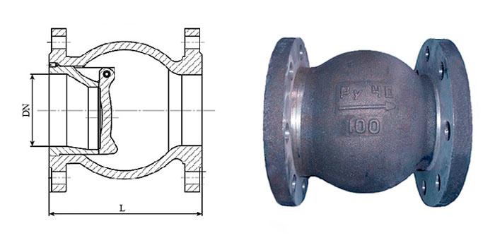 Клапан обратный 19с63нж стальной поворотный фланцевый Ру 40