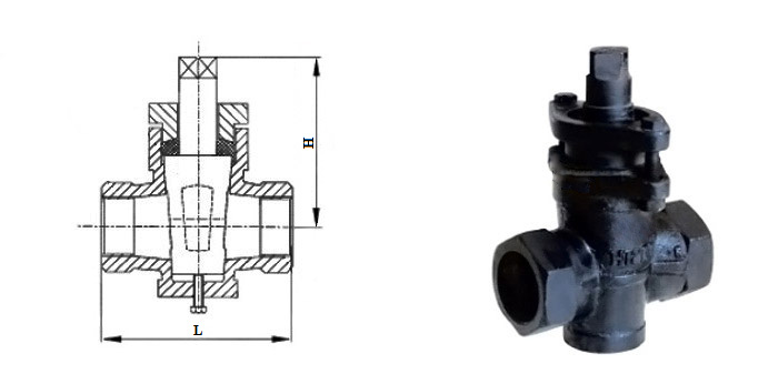 Кран пробковый чугунный (Ру 1,0 МПа) муфтовый 11ч6бк