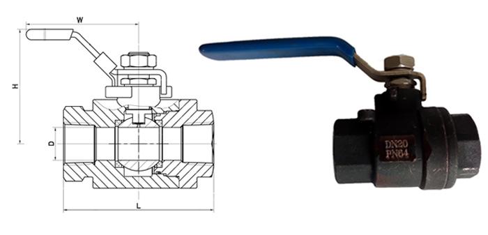 Кран шаровой стальной полнопроходной муфтовый Ру 64
