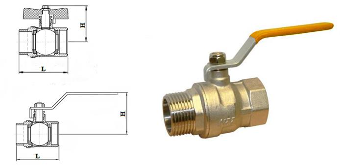 Кран шаровой латунный муфтовый для газа ВН