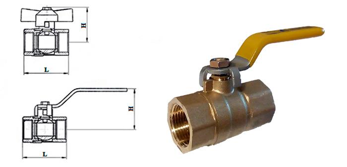 Кран шаровой латунный муфтовый для газа ВВ