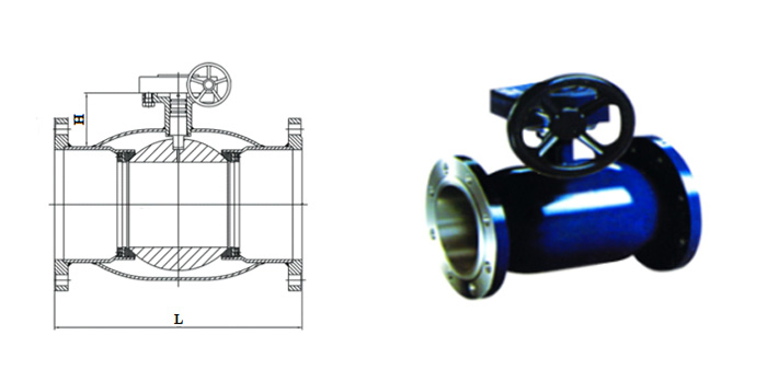 Кран шаровой стальной цельносварной стандартнопроходной (Ру 2,5  МПа) в комплекте с ручным редуктором фланцевый КШ.Ц.Ф.025…
