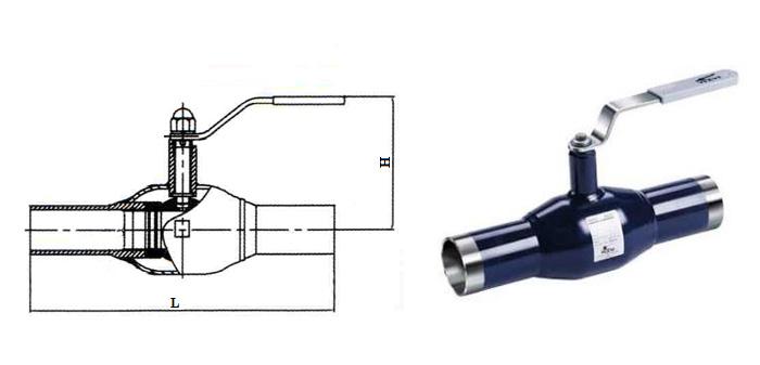 Кран шаровой стальной цельносварной стандартнопроходной (Ру 2,5 МПа) под приварку КШ.Ц.П.025…