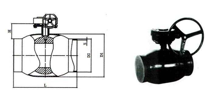 Кран шаровой стальной цельносварной стандартнопроходной (Ру 2,5 МПа) в комплекте с ручным редуктором под приварку КШ.Ц.П.025…