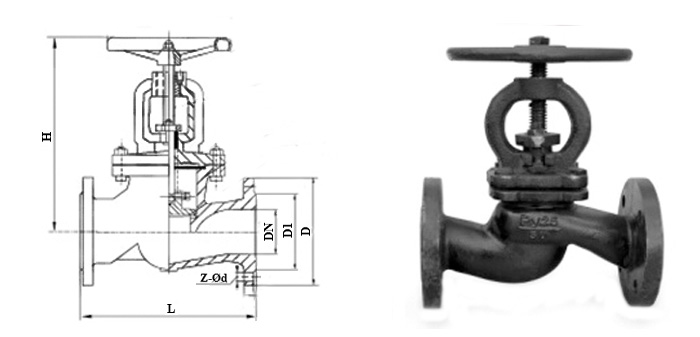 Вентиль 15кч16нж(бр) чугунный фланцевый Ру 25