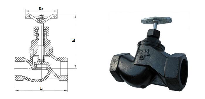 Вентиль чугунный (Ру 1,6 МПа) муфтовый 15кч18п (15кч33п)