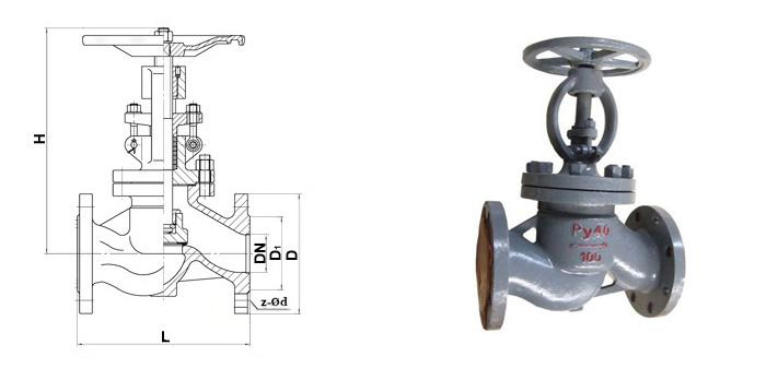 Вентиль 15с22нж стальной фланцевый Ру 40