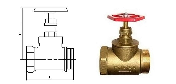 Вентиль латунный пожарный прямой (Ру 1,0 МПа) муфтовый (ВН) 1б1р