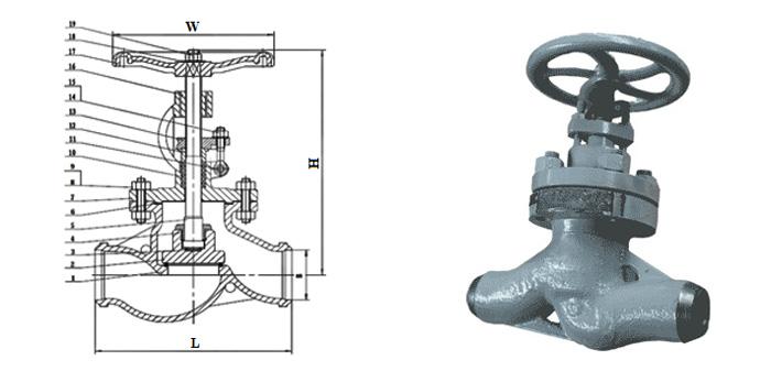 Вентиль стальной литой (Ру 10,0 МПа, Т < 425°С) под приварку