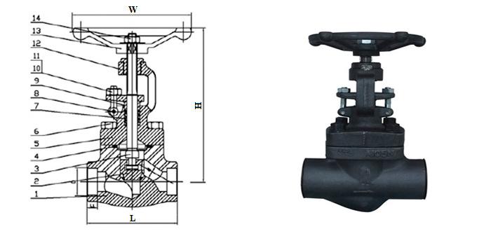 Вентиль стальной кованый (Ру 15,0 МПа, Т < 425°С) под приварку