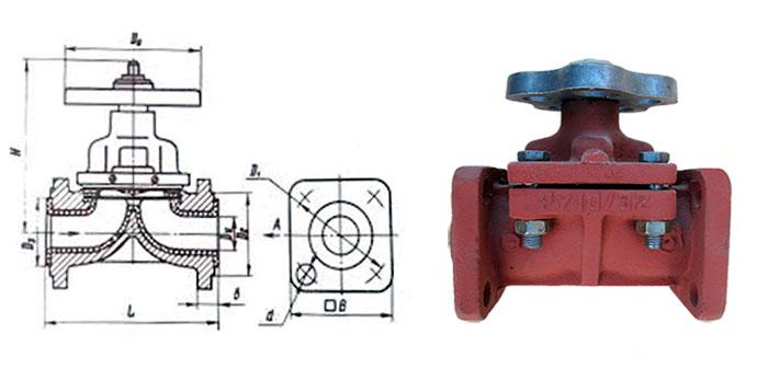 Вентиль чугунный дифрагмовый 15ч75п2 футерованный фторопластом фланцевый Ру 10