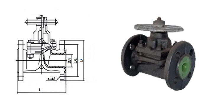 Вентиль чугунный мембранный (диафрагмовый) эмалированный (Ру 1,0 МПа) фланцевый