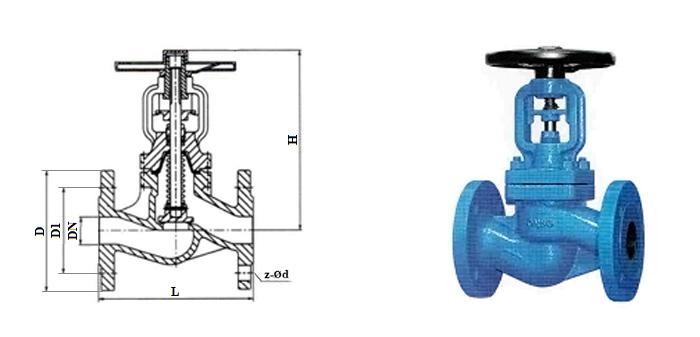 Вентиль стальной с сильфонным уплотнением (Ру 1,6 МПа) фланцевый