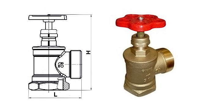 Вентиль латунный пожарный угловой Ру 16