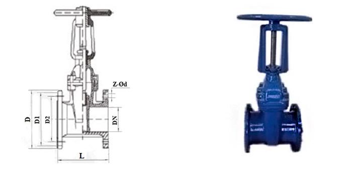 Задвижка чугунная с обрезиненным клином (Ру 1,0/1,6 МПа) ручная с выдвижным шпинделем фланцевая
