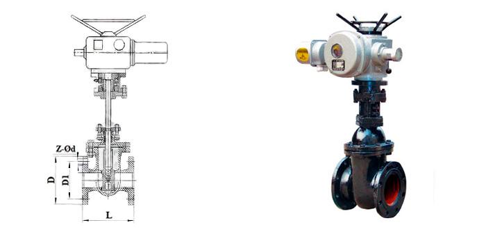 Задвижка чугунная параллельная (Ру 1,0 МПа) в комплекте с электроприводом фланцевая 30ч906бр