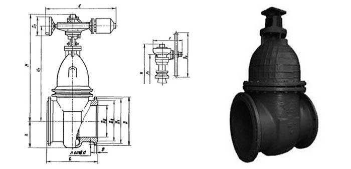 Задвижка чугунная параллельная (Ру 1,0 МПа) в комплекте с электроприводом 30ч915бр