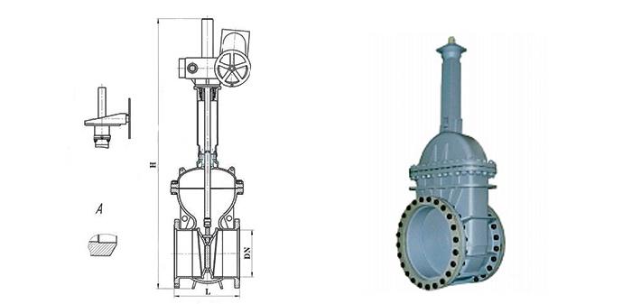 Штампосварная стальная задвижка под редуктор или электропривод 30с507нж/30с907нж фланцевая Ру 25