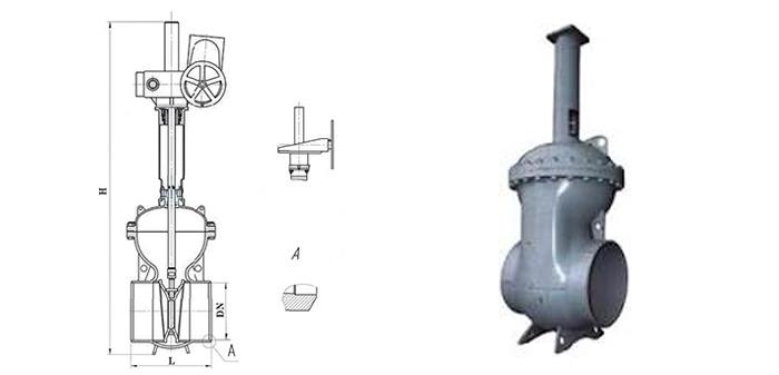 Штампосварная стальная задвижка под редуктор или электропривод 30с507нж/30с907нж под приварку Ру 25