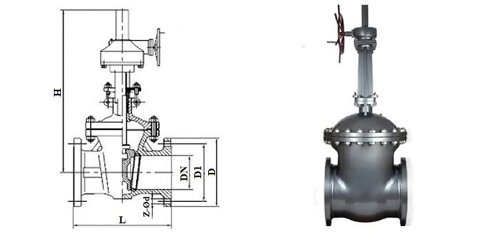 Задвижка стальная литая (Ру 4,0 МПа) в комплекте с ручным редуктором фланцевая 30с515нж