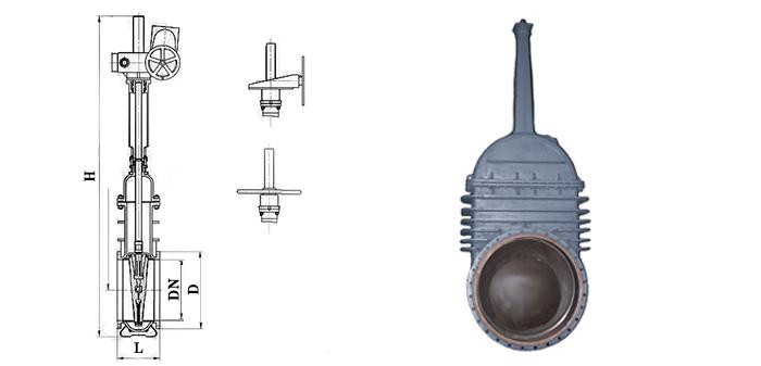Штампосварная стальная задвижка под редуктор или электропривод 30с547нж/30с947нж Ру 4