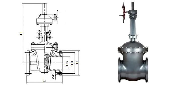 Задвижка стальная литая (Ру 2,5 МПа) в комплекте с ручным редуктором фланцевая 30с564нж (30с599нж)