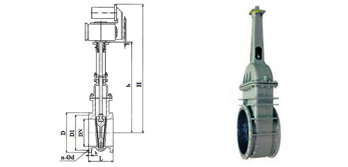 Задвижка стальная литая  (Ру 1,0 МПа) в комплекте с электроприводом фланцевая 30с942нж