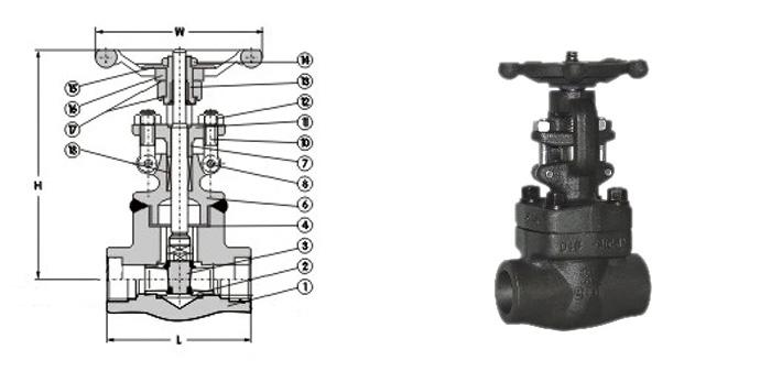 Задвижка стальная кованая (Ру 2,5-10,0 МПа) ручная под приварку 31лс77нж
