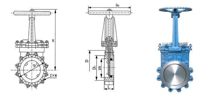 Задвижка стальная ножевая (шиберная) (Ру 1,6 МПа) ручная межфланцевая