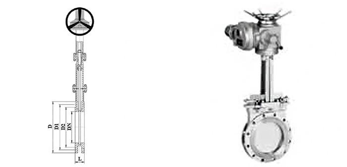 Задвижка стальная ножевая (шиберная) (Ру 1,6 МПа) в комплекте с электроприводом межфланцевая