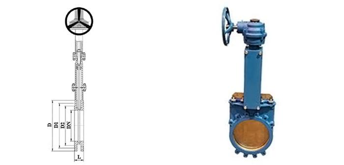 Задвижка стальная ножевая (шиберная) (Ру 1,6 МПа) в комплекте с ручным редуктором межфланцевая