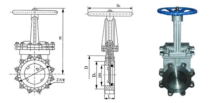 Задвижка из нержавеющей стали ножевая (шиберная) ручная (Ру 1,0 МПа) межфланцевая