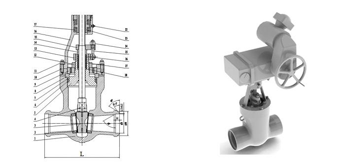 Задвижка стальная литая (Ру 10,0 МПа, Т