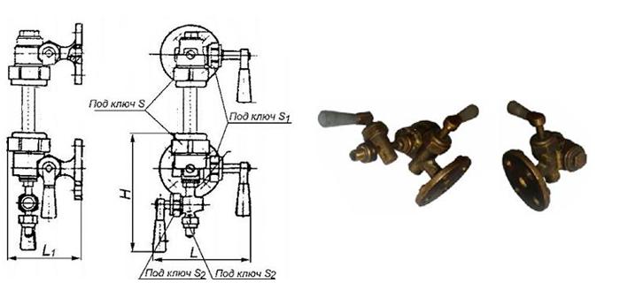 Запорное устройство указателя уровня 12Б2бк кранового типа фланцевое Ру16