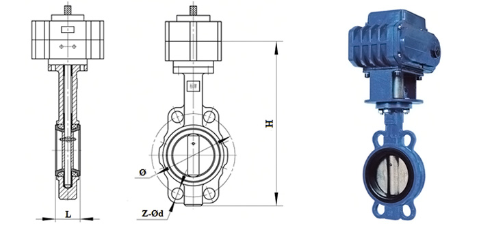 Затвор дисковый Butterfly чугунный (Ру 1,6 МПа) с оцинкованным диском в комплекте с электроприводом межфланцевый